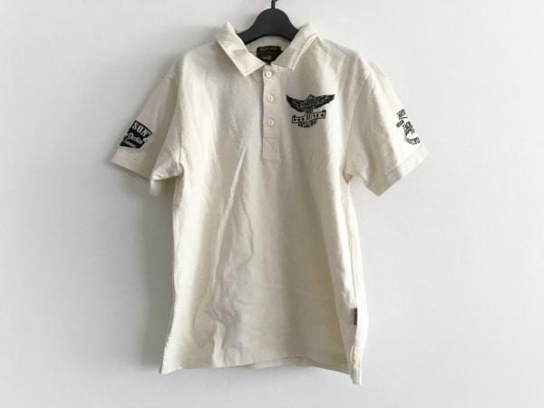 VANSON(バンソン) 半袖ポロシャツ サイズS メンズ美品  アイボリー×黒 刺繍