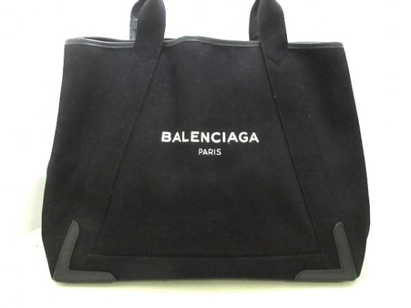 バレンシアガ トートバッグ美品  ネイビーカバM 339936 黒×白 キャンバス×レザー