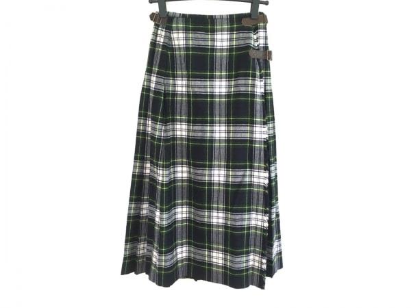 インゲボルグ 巻きスカート レディース美品  グリーン×ネイビー×マルチ チェック柄