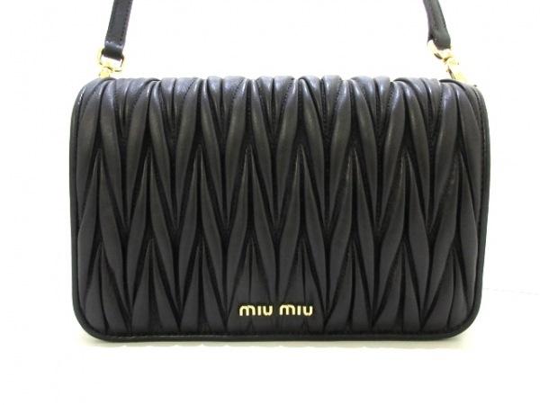 miumiu(ミュウミュウ) ショルダーバッグ美品  ギャザーバッグ 5BD068 黒 レザー