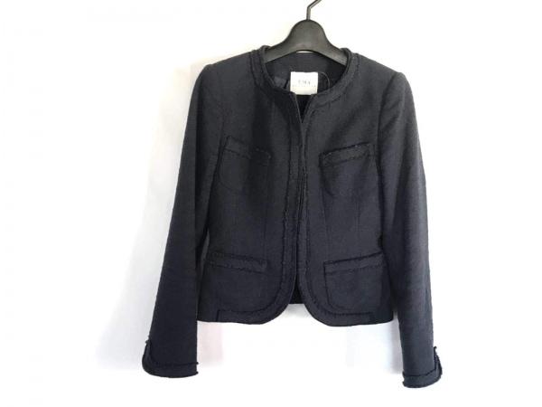 ユマエストネーション ジャケット サイズ38 M レディース ネイビー 綿ポリウレタン