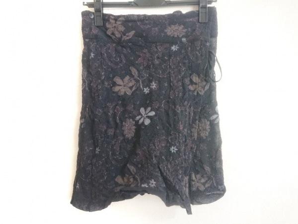 ハート 巻きスカート サイズ2 M レディース美品  黒×ダークブラウン×マルチ