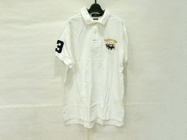 ポロラルフローレン 半袖ポロシャツ サイズL メンズ 白×ネイビー×マルチ 刺繍