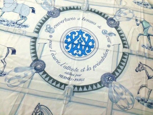 HERMES(エルメス) スカーフ カレ140 白×ライトブルー×マルチ 大判
