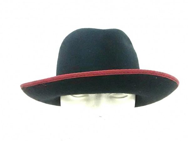 Borsalino(ボルサリーノ) ハット美品  黒×レッド ウール×化学繊維