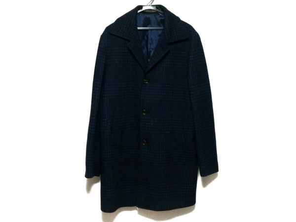 eleventy(イレブンティ) コート サイズ54 メンズ 黒×ブルー チェック柄/冬物