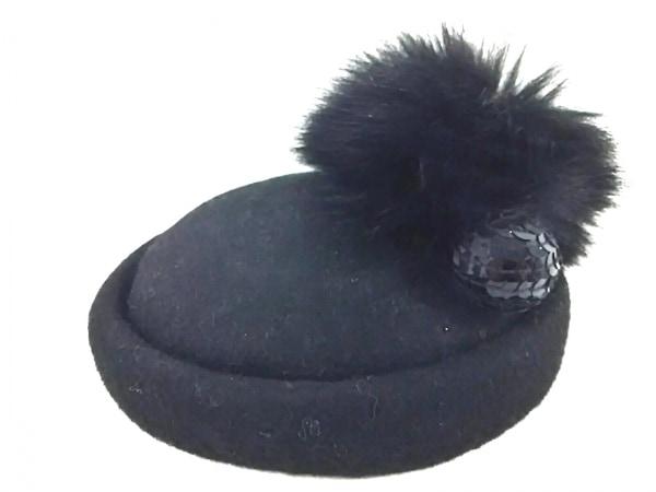 CA4LA(カシラ) 帽子 黒 ファー/スパンコール ウール