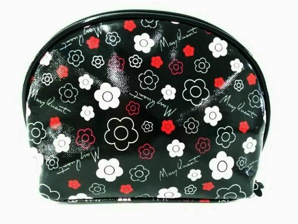 MARY QUANT(マリークワント) ポーチ 黒×ピンク×マルチ 花柄 コーティングキャンバス