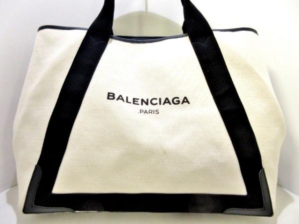 バレンシアガ トートバッグ ネイビーカバM 339936 アイボリー×黒 キャンバス×レザー