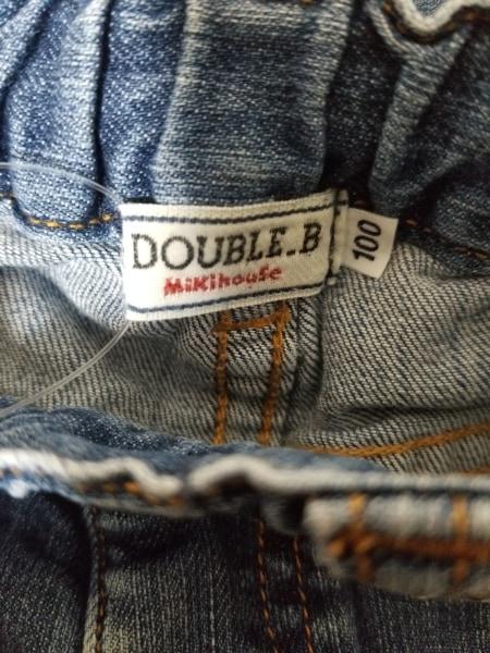 ミキハウス ジーンズ サイズ100 メンズ ネイビー DOUBLE.B/デニム/ダメージ加工/刺繍