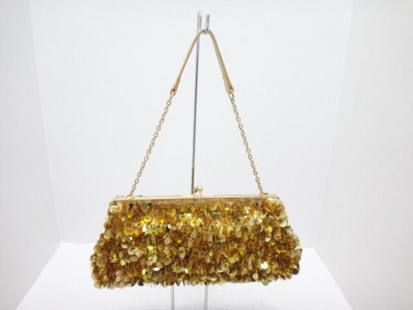 CheChe(チチ) ハンドバッグ ゴールド スパンコール/ビーズ ナイロン×スパンコール