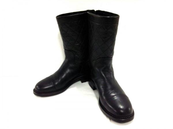 4b2f1012a3ab CHANEL(シャネル) ブーツ 37 レディース美品 マトラッセ G29322 黒 レザー