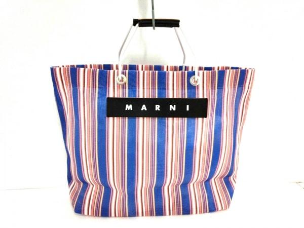 マルニ トートバッグ フラワーカフェショッピングトートバッグ ブルー×白×マルチ