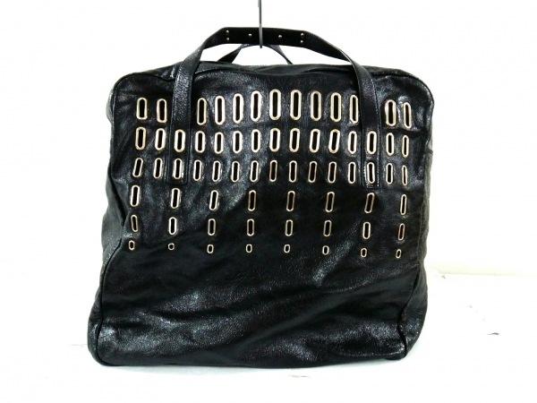ジミーチュウ ボストンバッグ - 黒×シルバー エナメル(レザー)×金属素材