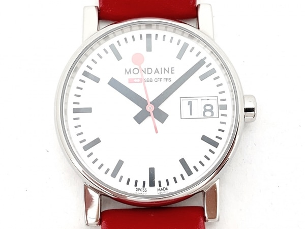 MONDAINE(モンディーン) 腕時計美品  - レディース 革ベルト 白