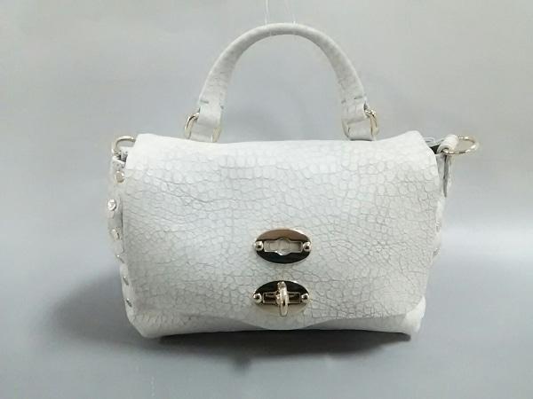 ザネラート ハンドバッグ美品  ポスティーナ ライトグレー 型押し加工 レザー