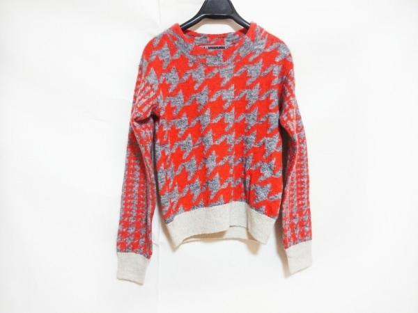 5+1アンナプルナ 長袖セーター レディース美品  グレー×オレンジ×アイボリー