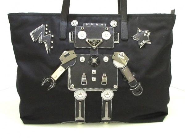 PRADA(プラダ) ショルダーバッグ美品  - 1BG052 黒×シルバー ロボット