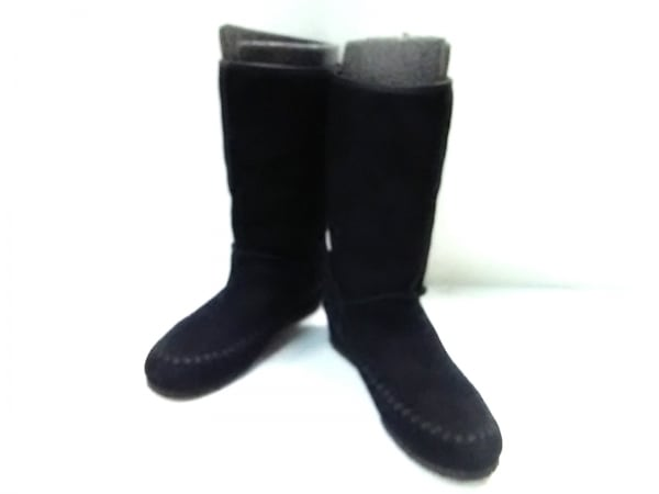 ANNA SUI(アナスイ) ブーツ 24.5 レディース 黒 スエード