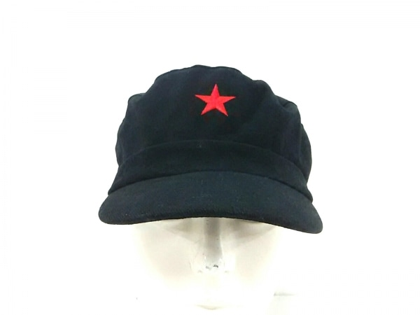 Shanghai Tang(シャンハイタン) キャップ 黒×レッド 刺繍/スター コットン