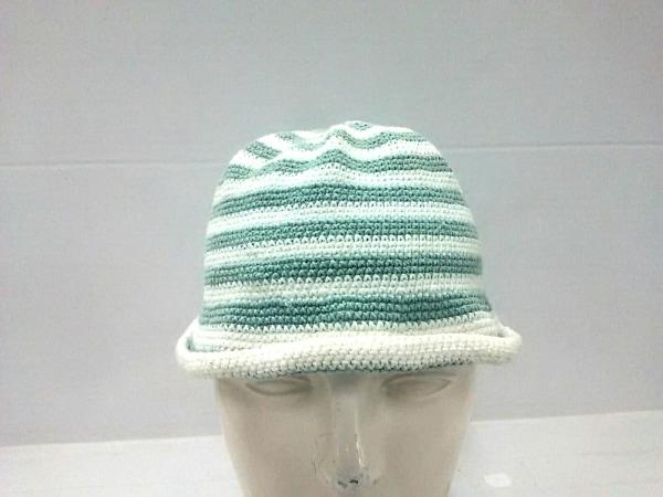 agnes b(アニエスベー) ニット帽 1 白×ライトグリーン 子供サイズ/ボーダー コットン