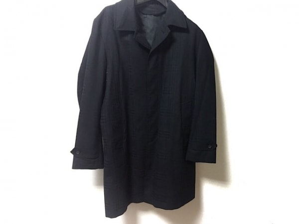 ヒルトンタイム コート サイズL メンズ 黒 フード収納/チェック柄/春・秋物