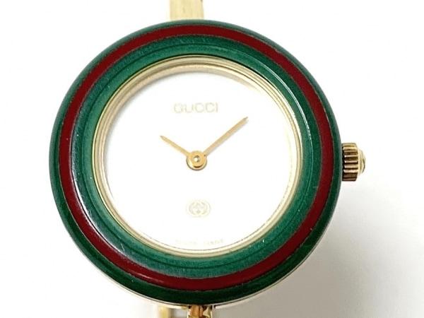 GUCCI(グッチ) 腕時計美品  ベゼルウォッチ 11/12 レディース 白