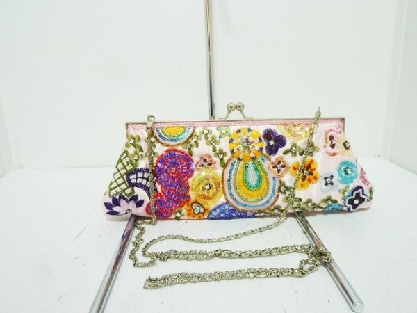 グレースイースタン ハンドバッグ ピンク×マルチ 刺繍/スパンコール/ビーズ サテン