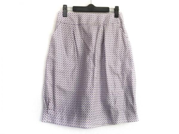 ナカガワマサシチショウテン スカート レディース美品  白×パープル×ベージュ