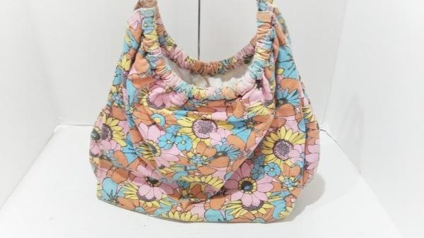 ロデオクラウンズ トートバッグ ピンク×イエロー×マルチ 花柄 キャンバス
