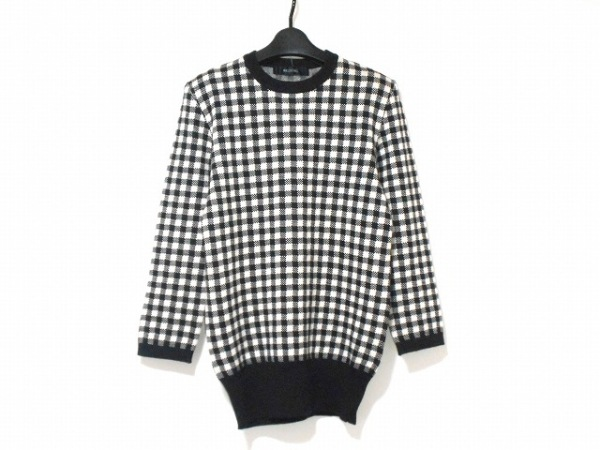 INGEBORG(インゲボルグ) 長袖セーター レディース 黒×白 肩パッド/チェック柄