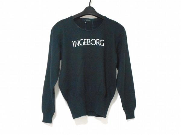 INGEBORG(インゲボルグ) 長袖セーター レディース 黒×白 肩パッド