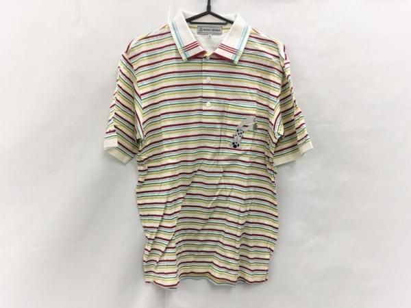 ミエコウエサコ 半袖ポロシャツ サイズ48 XL メンズ美品  アイボリー×レッド×マルチ