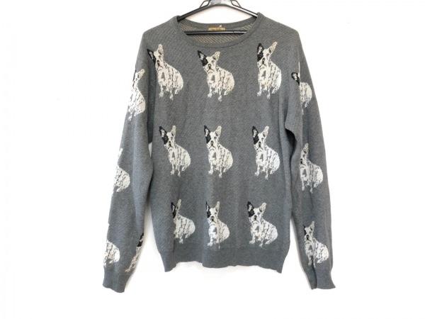 ピーターイェンセン 長袖セーター サイズS レディース グレー×白×マルチ 犬