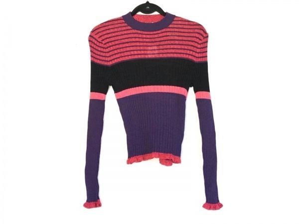 アカネ ウツノミヤ 長袖セーター サイズF レディース美品  レッド×パープル×マルチ