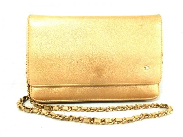 f774bd0fb881 CHANEL(シャネル) 財布 カメリア ゴールド チェーンウォレット/ゴールド金具 レザー