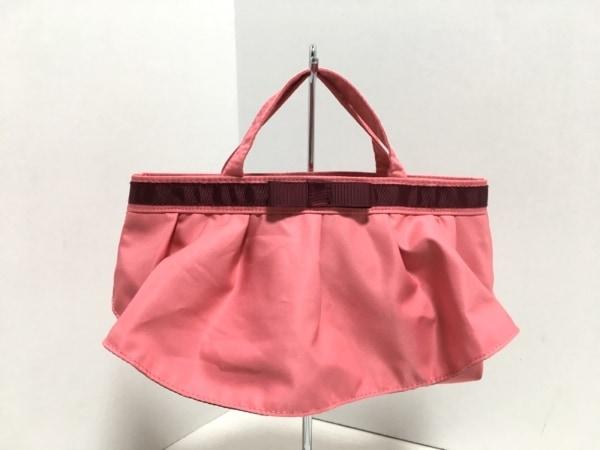LAZY SUSAN(レイジースーザン) ハンドバッグ ピンク×ボルドー リボン ナイロン
