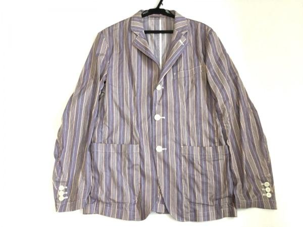 ビームスライツ ジャケット サイズS メンズ パープル×白×マルチ 薄手/ストライプ