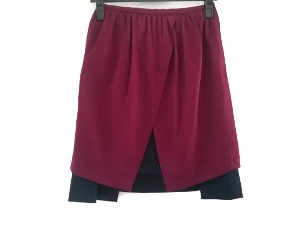 TARO HORIUCHI(タロウホリウチ) スカート サイズ1 S レディース美品  ボルドー×黒