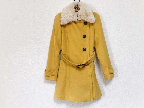 Miia(ミーア) コート サイズ1 S レディース美品  イエロー×アイボリー ファー/冬物