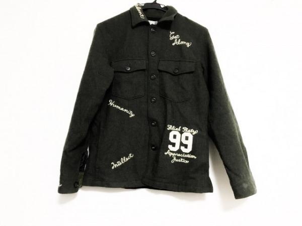 ティーケータケオキクチ ジャケット サイズ2 M メンズ ダークグレー×白 刺繍