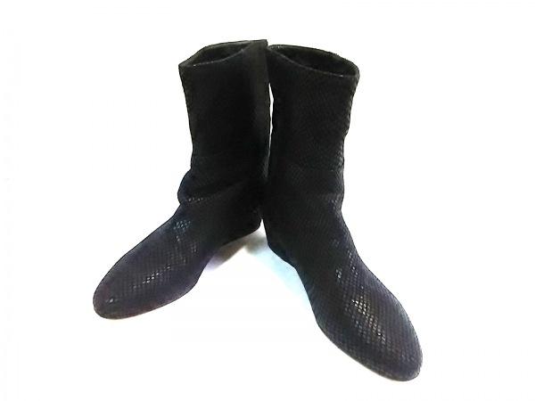 JIMMY CHOO(ジミーチュウ) ブーツ 36 1/2 レディース 黒 型押し加工 レザー