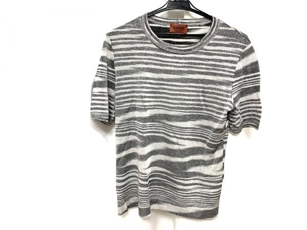 MISSONI(ミッソーニ) 半袖Tシャツ レディース グレー×ライトグレー ラメ/ボーダー