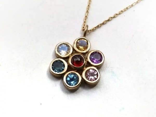 Enasoluna(エナソルーナ) ネックレス美品  K10PG×カラーストーン マルチ