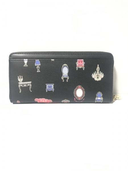 ドーリーガール 長財布美品  黒×ピンク×マルチ ラウンドファスナー 合皮