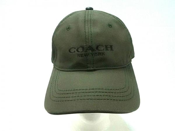 COACH(コーチ) キャップ O/S美品  カーキ×ダークブラウン コットン×レザー