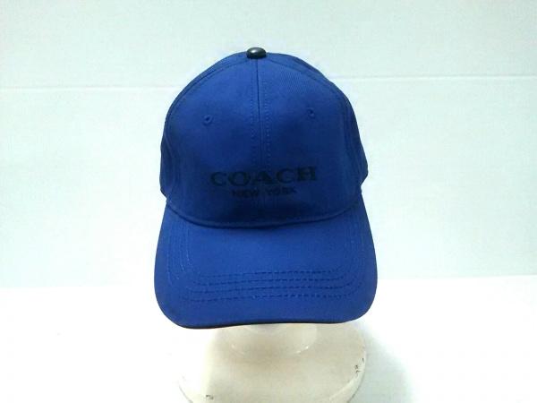 COACH(コーチ) キャップ S/O ブルー×黒 コットン×レザー