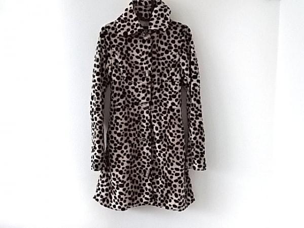 ナイン コート サイズS レディース美品  ベージュ×ダークブラウン×黒 冬物/豹柄