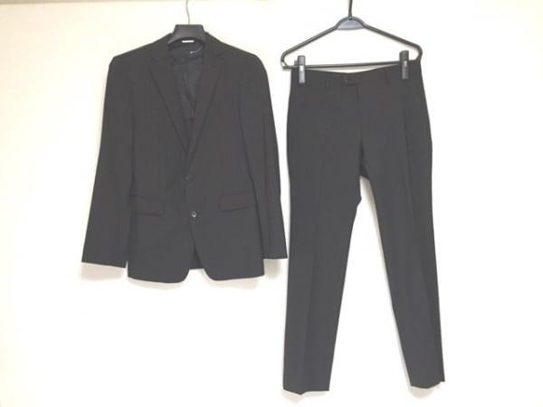 COMME CA MEN(コムサメン) シングルスーツ サイズ44 L メンズ 黒×グレー ストライプ