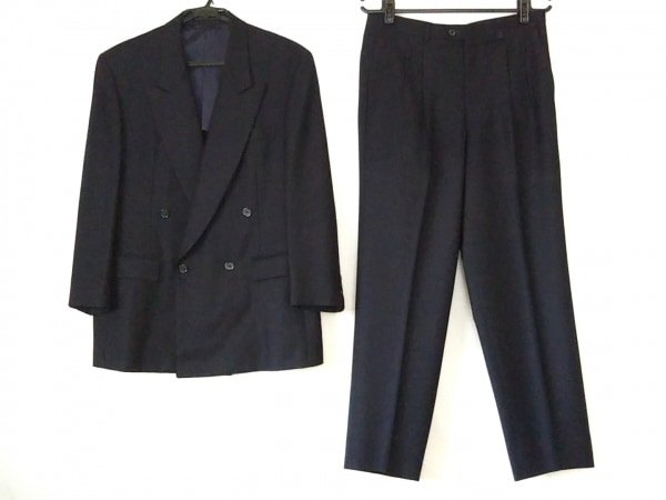 LANVIN(ランバン) ダブルスーツ サイズ50 XL メンズ ダークネイビー ネーム刺繍